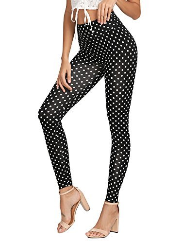 SOLY HUX Women's Stretchy High Waist Polka Dot