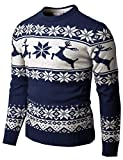 H2H Mens Casual Slim Fit Knitted Crew Neck Sweaters Thermal of Various Christmas Pattern Navy US S/Asia M (CMOSWL055)
