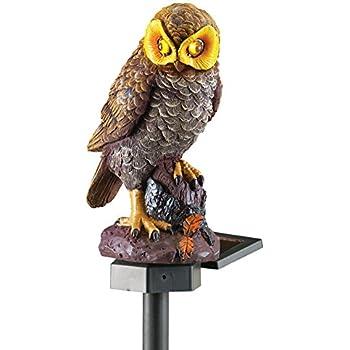 Solar Brown Hooting Owl Garden Decor Yard Stake, Brown