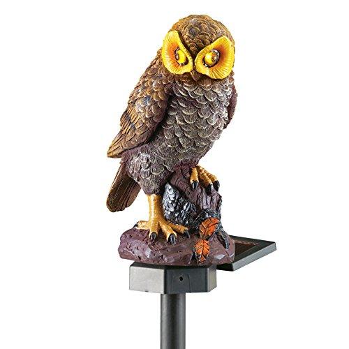 Collections Etc Solar Brown Hooting Owl Garden Decor Yard Stake, Brown