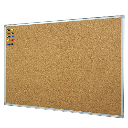 Lockways Cork Board Bulletin Board - Corkboard 36 X 24 Notice Board 3 X 2 - Silver Aluminium Frame U12118762609 For School, Home & Office (SET Including 10 Push Pins) (24 x 36, Silver)