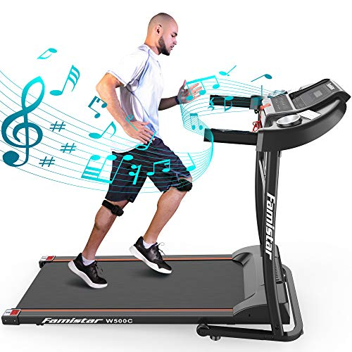 Portable Electric Folding Treadmill, Famistar Motorized Running Jogging Machine with LED Display, Rolling Wheels, Built…