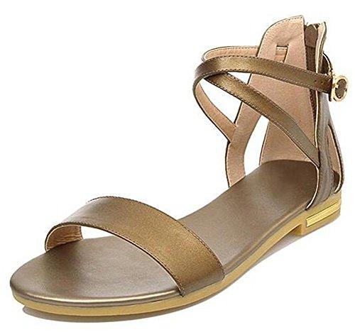 EaseMax Womens Open Toe Ankle Strap Flat Back Zipper Gladiator Sandals Gun b6C1Dn1RN1
