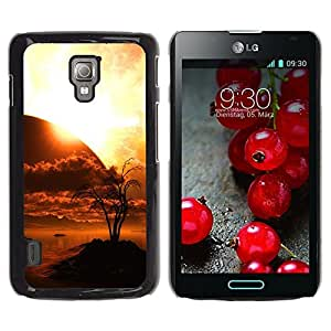 LECELL -- Funda protectora / Cubierta / Piel For LG Optimus L7 II P710 / L7X P714 -- Sunset Planet Sci Fi --