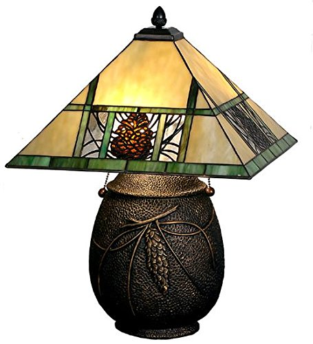 Meyda Tiffany 67850 Pinecone Ridge Table Lamp, 19.5