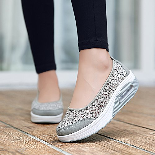 1710 Slip Work Fitness EnllerviiD Floral Walking Out Crochet Shoes Shape Women Ups Sneakers Platform Grey On HxPtq6wx