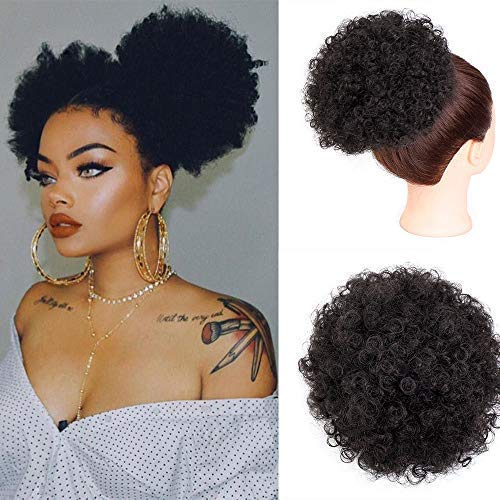Beauty : AISI BEAUTY Synthetic Curly Hair Ponytail African American Short Afro Kinky Curly Wrap Synthetic Drawstring Puff Ponytail Hair Extensions Wig with 2 Clips