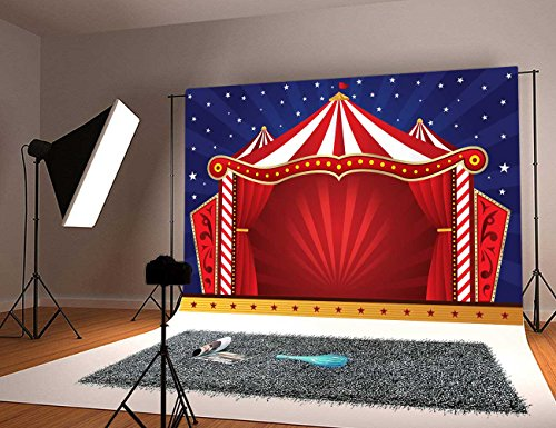 Botong Circus Decor Tapestry Wall Hanging, Canvas Tent Circus Stage Performing Theater Jokes Clown Cheerful Night Theme, Bedroom Living Room Dorm Decor BT111-5x3FT ()