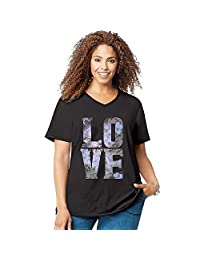 Just My Size Womens Short Sleeve Graphic Tee, 2X, Love Black