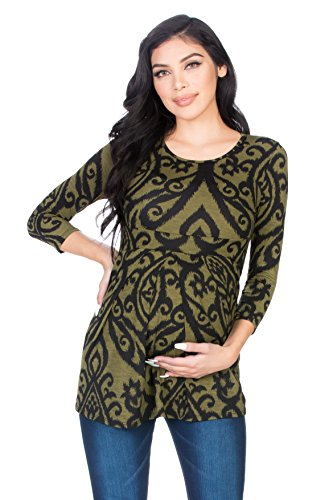 Sleeve Front Pleated Ultra Soft Maternity Top (Medium, Olive/Blk DM) (Maternity Top)