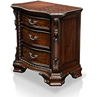 HOMES: Inside + Out ioHOMES Claudio Baroque Style 3-Drawer Nightstand, Walnut