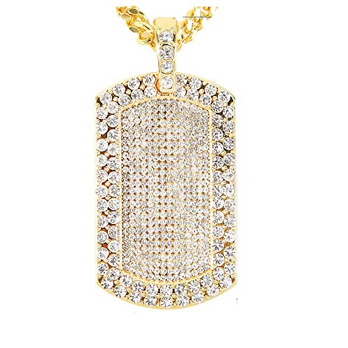 AOVR Hip Hop CUBAN LINK Chain 14k Gold Silver Plated CZ CRYSTAL Bling Bling Fully Iced-Out Dog Tag Pendant (Gold) (Hip Hop Bling)