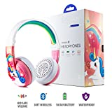 Wireless Bluetooth Headphones for Kids – BuddyPhones WAVE | Kids Safe Volume Limited to 75, 85 or 94 dB | Foldable & Waterproof | 24-Hour Battery Life | Optional Cable for Audio Sharing | Pink