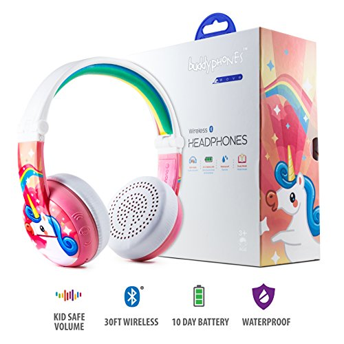 Wireless Bluetooth Headphones for Kids - BuddyPhones WAVE | Kids Safe Volume Limited to 75, 85 or 94 dB | Foldable & Waterproof | 24-Hour Battery Life | Optional Cable for Audio Sharing | Pink by ONANOFF