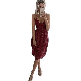 Kleid Damen Kolylong® Frauen Elegant Spitze Ärmelloses Kleid Knielang  Spitzenkleid Festlich Rückenfrei Kleider Brautjungfer Hochzeit 41c58e54ee
