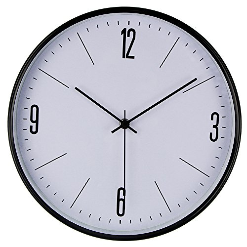 SHELLMIMI Silent Wall Clock Non Ticking Quiet Sweep Decorative Clocks, 11 inch Black Metal Frame Battery Operated