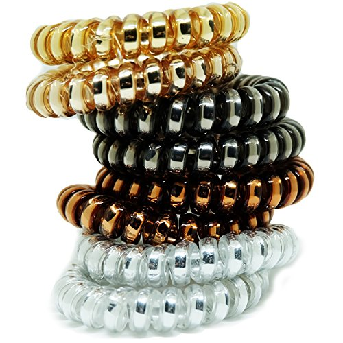 Price comparison product image Juicy Accessories 8 Pcs Colorful Telephone Stretchy Wire Cord Elastic Hair Ties Pony Holders - Large Boutique Girls Stretchy Elastic Hair Ropes Bands For women and Ladies