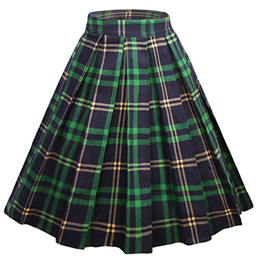 Tartan Plaid Pleated Skirt - Dressever Women's Vintage A-line Printed Pleated Flared Midi Skirts PLaid (Green and Navy) Medium