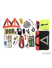Blikzone 81 Pc Kit de emergencia de asistencia en carretera, camión y caravana, con kit de reparación de neumáticos • Cables de puente • Compresor de aire portátil • Correa de remolque • Triángulo de emergencia