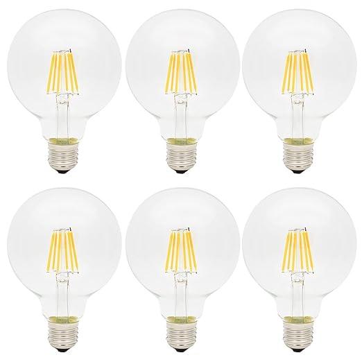 6X E27 Bombillas Edison Retro 6W LED Edison G95 Blanco Cálido 420LM Bombilla Vintage LED Sustitución