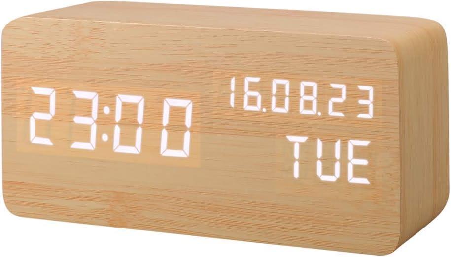 Reloj Despertador Madera,Escritorio Digital Despertador con Tiempo/Fecha/Temperatura/Humedad,3 Grupos de Alarma, Brillo Ajustable y Control de Sonido