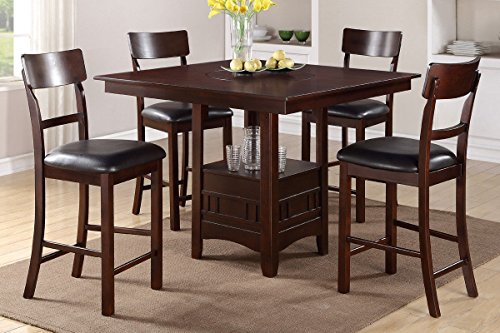 Poundex F2346 & F1207 Dark Brown Finish W/ Black Vinyl Counter Height Dining Set