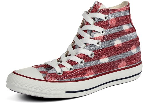 Converse - Chuck Taylor All Star Striped Polka Dot Textile Shoes in Varsity Red/Athletic Navy, Size: 5 B(M) (Polka Dot Converse Shoes)