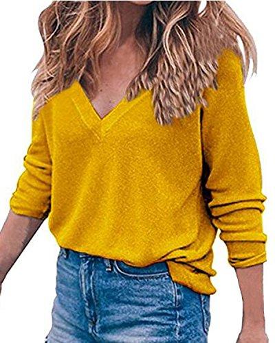Cheap Auxo Women's V Neck Top Long Sleeve Shirt Blouses Oversized Sweater Pullover Jumper for sale