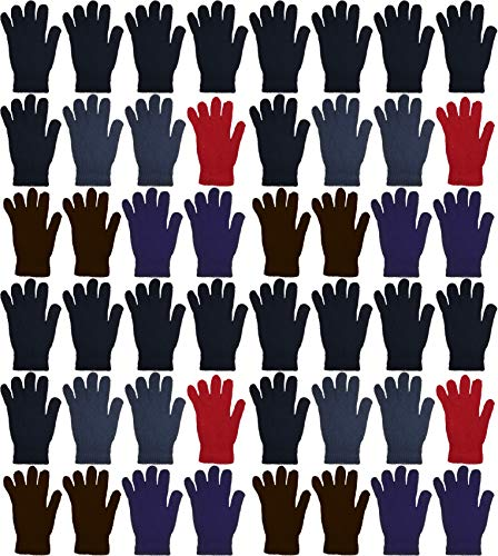 48 Pairs Winter Magic Gloves, Wholesale Bulk Warm Brushed Interior, Stretchy Assorted Mens Womens (Assorted Solids)