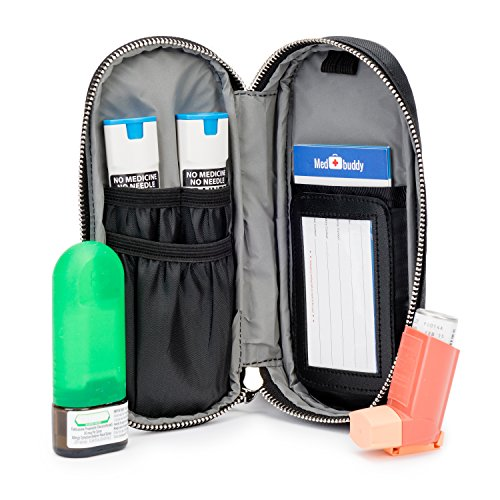 MedBuddy Medicine Case – Protection for Allergy Medications like EpiPens ®, Auvi-Q, Inhalers, Peak Flow Meters, Asthma & more: Solid Black
