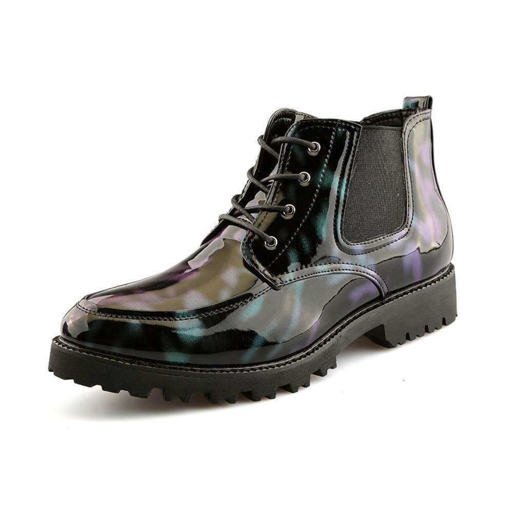 MXNET Patchwork Mode Stiefeletten, Casual Persönlichkeit Patchwork MXNET Lackleder Hohe Stiefel für Männer (Farbe   Grün, Größe   39 EU) d871f0