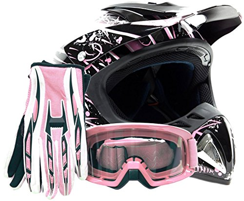 Adult Offroad Helmet Goggles Gloves Gear Combo DOT Motocross ATV Dirt Bike MX Pink Splatter ( Large (Dirt Bike Gear Combo)
