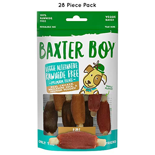 Baxter Boy Ribs Premium Natural Dog Treats Chews with Real Chicken Duck & Chicken Liver - Rawhide Free, 28 Pieces (4 Packs with 7 per Pack) - Gourmet Quality Fresh & Tasty ()