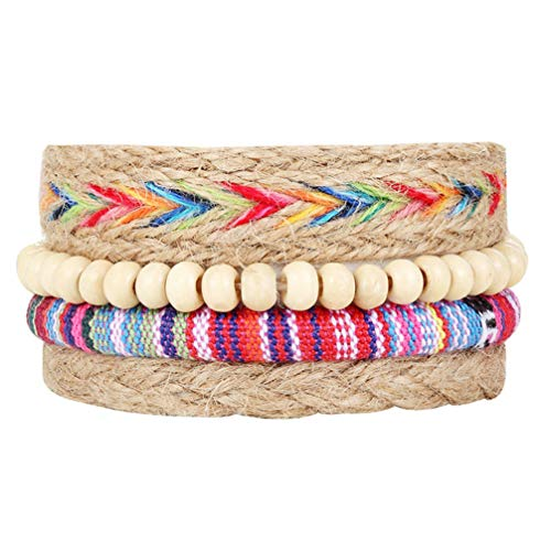 Myhouse Geometric Weave Adjustable Multi-Layer String Colored Beads Bracelet Charm Accessories for Women Girls - Geometric Weave Bracelet