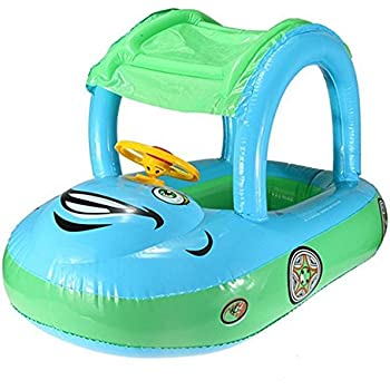 YOUDirect® Cartoon Car Swim Float Seat Boat Pool Ring Seat with Sunshade & Canopy for Kids Baby Child Toddler Infant - Blue