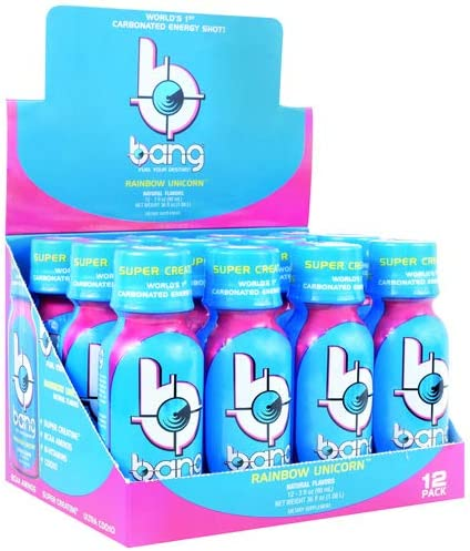 VPX Bang Shot World's First Carbonated Energy Shot Rainbow Unicorn 24 3fl oz Shots