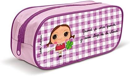 Labeltour Créations Estuche escolar para niña, diseño con texto en francés