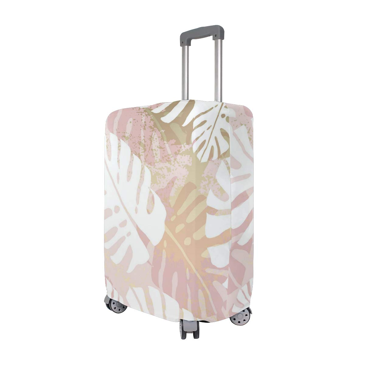 Marble Pattern Of Pink Leaves Traveler Lightweight Rotating Luggage Cover Can Carry With You Can Expand Travel Bag Trolley Rolling Luggage Cover