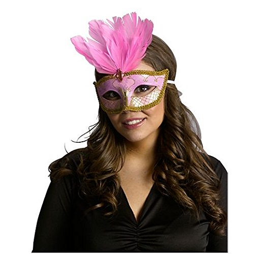 [Costume Beautiful Pink And Gold Festive Party Mask] (Girls Festive Witch Costumes)