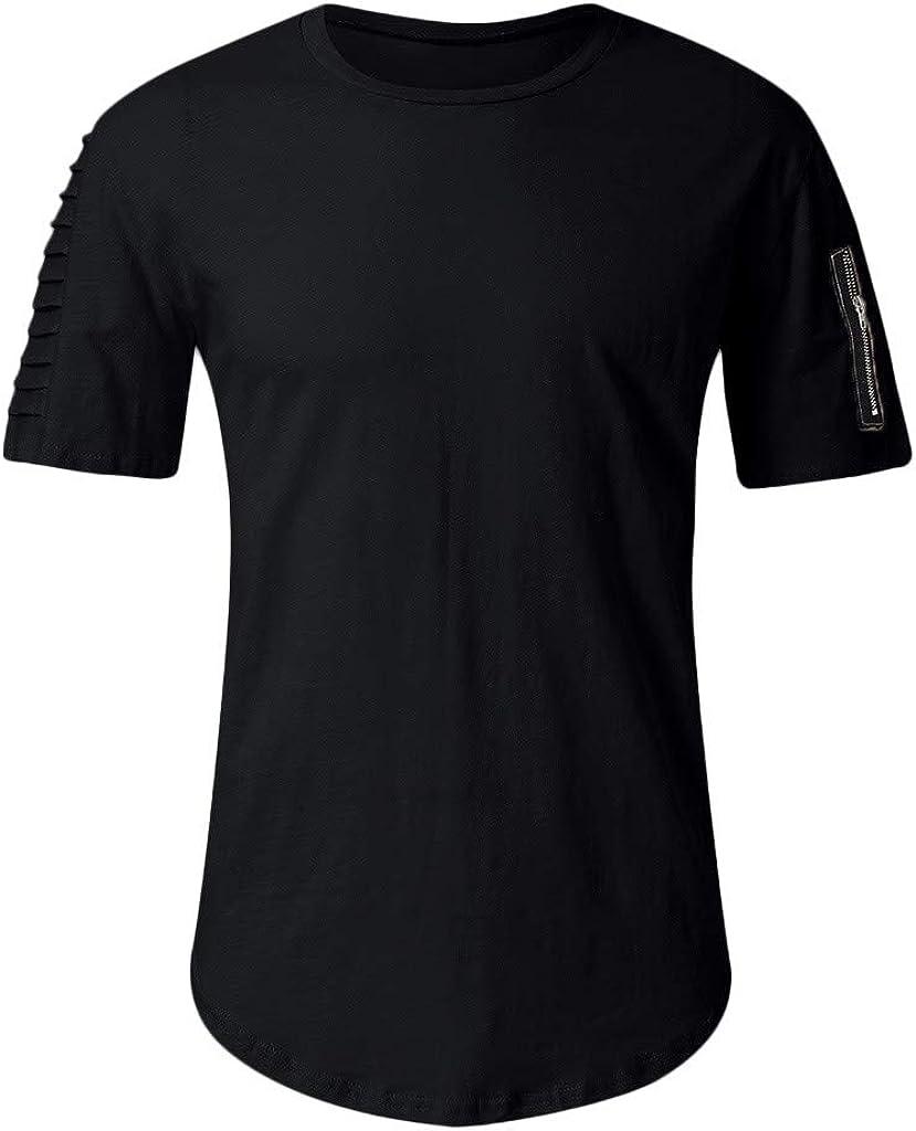 Huazi2 Mens Summer Casual Pleated Zip Short Sleeve T-Shirt Blouse Khaki Black