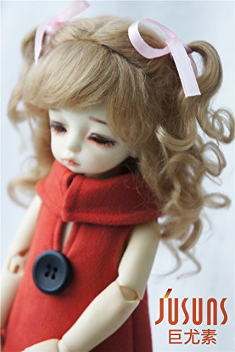 JD187 6-7inch 16-18CM Long Curly Princess Mohair BJD Wigs 1/6 YOSD Doll Accessories (Ash Brown)