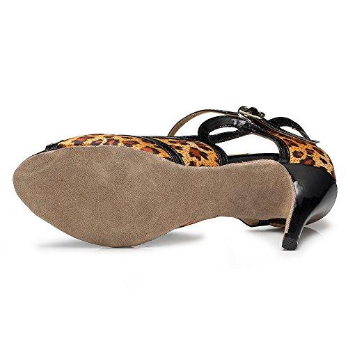 Mujer Té Zapatos Samba Latino De para Sandalias Altos Tango Zapatos Jazz Tacones Brown10cm Moderno Salsa Baile De qpIp0