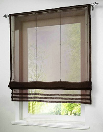 1pcs Solid Roman Shades Voile Ribbon Adjustable Rod Pocket Balcony Window Curtain Panels for Study Room Decor Decorative (Ribbon Pocket Curtain Organza Rod)