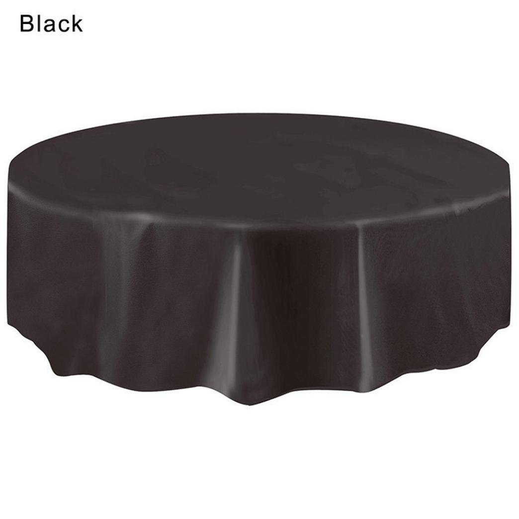 LiPing Diameter 213CM(83.8in) Plain colour Disposable Plastic Table cloth Circular Table Cover (Black)