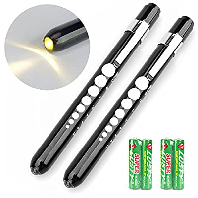 Opoway Nurse Penlight with Pupil Gauge Warm White Medical Pen Light For Nurses Doctors Batteries Included, Black 2ct.