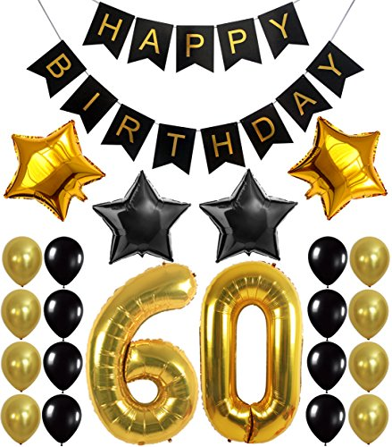 [60th BIRTHDAY PARTY DECORATIONS KIT - Happy Birthday Black Banner, 60th Gold Number Balloons,Gold and Black, Number 60, Perfect 60 Years Old Party Supplies,Free Bday Printable Checklist] (Happy Birthday Party Kit)