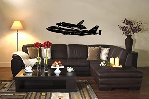 Plane Boeing Space (NASA Boeing 747 Airplane Space Shuttle Carrier Silhouette Vinyl Wall Decal Sticker)