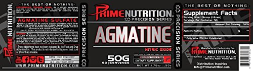 Agmatine | Prime Nutrition | Nitric Oxide Booster | 1000 Mg | 50 Servings