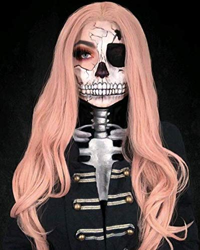 Melody Wig Pink Synthetic Lace Front Wigs Rose Gold Lace Wig Long Natural Wavy Middle Part 180% Density Half Hand Tied Heat Resistant Fiber Hair For Women Gifts Cosplay 22 24 inch