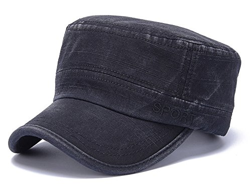 (ChezAbbey Men's Washed Cotton Solid Brim Flat Top Cap Army Cadet Style Distressed Hat Topee Peaked Cap Black)